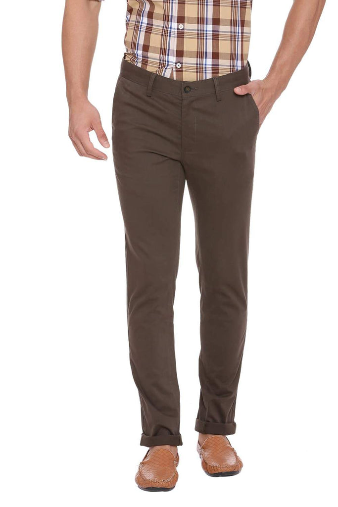 BASICS TAPERED FIT FOREST NIGHT STRETCH TROUSER-18BTR38969 (4491285168209)