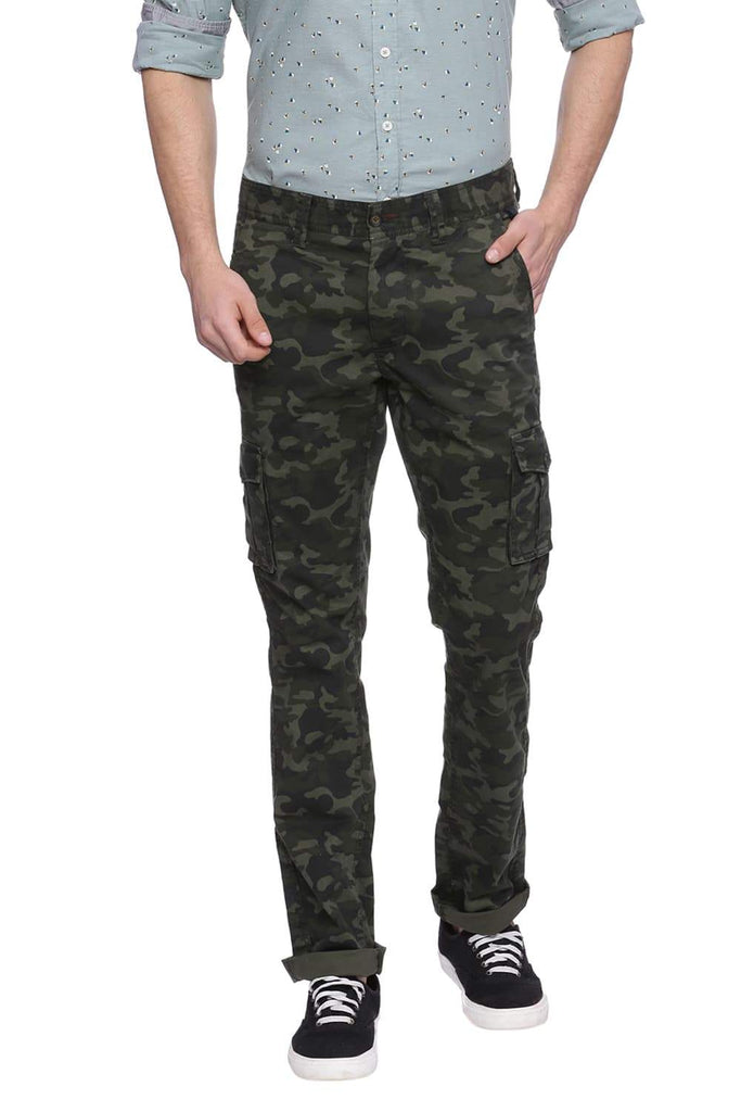 Basics Tapered Fit Grape Green Cargo Trouser Front