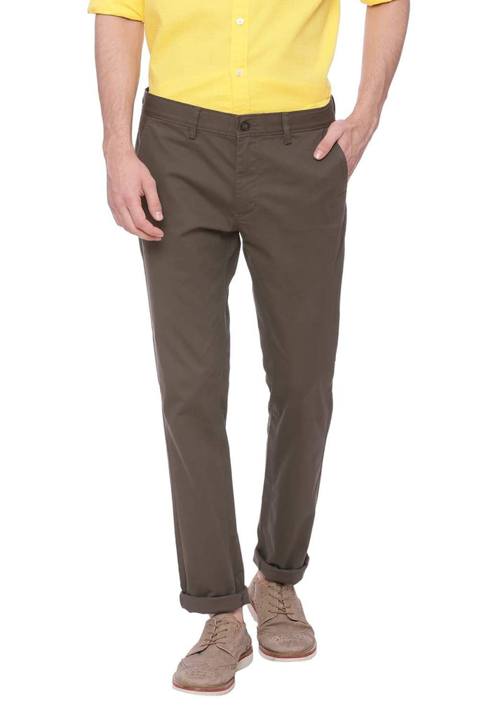 BASICS TAPERED FIT GRAPE LEAF GREY STRETCH TROUSER-18BTR37673 (4491101864017)