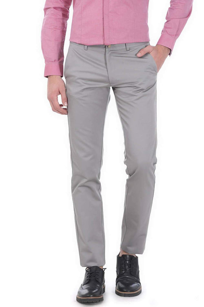 BASICS TAPERED FIT GREY SATIN TROUSERS-17BCTR38193 (4490934550609)