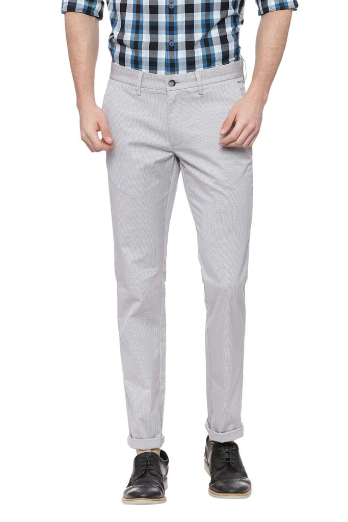 Basics Tapered Fit Grey Violet Trouser Front