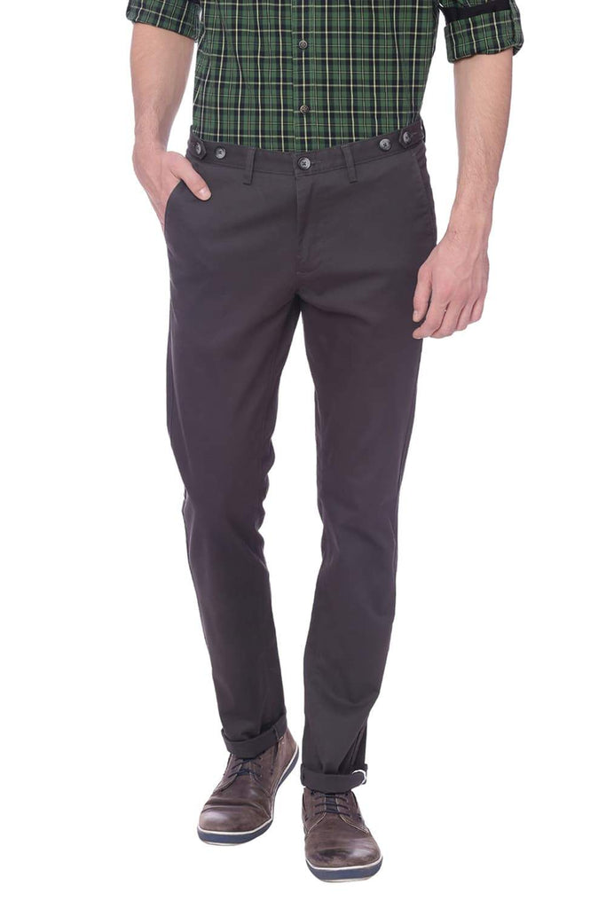BASICS TAPERED FIT GUN METAL GREY STRETCH TROUSER-18BTR37683 (4491102224465)