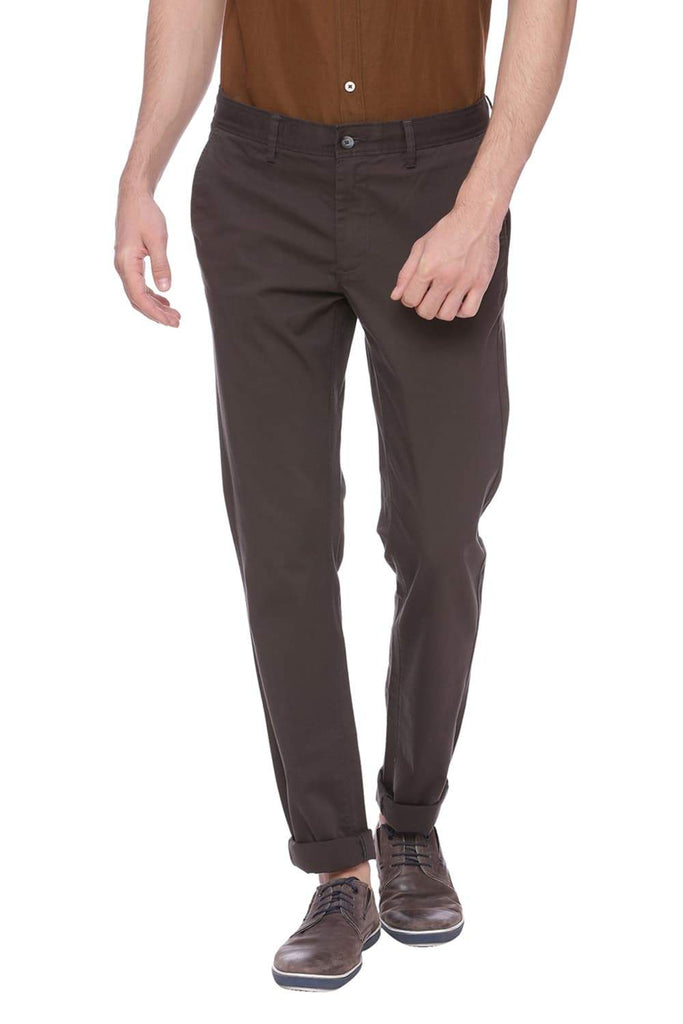 BASICS TAPERED FIT GUNMETAL GREY STRETCH TROUSER-18BTR37659 (4491101143121)