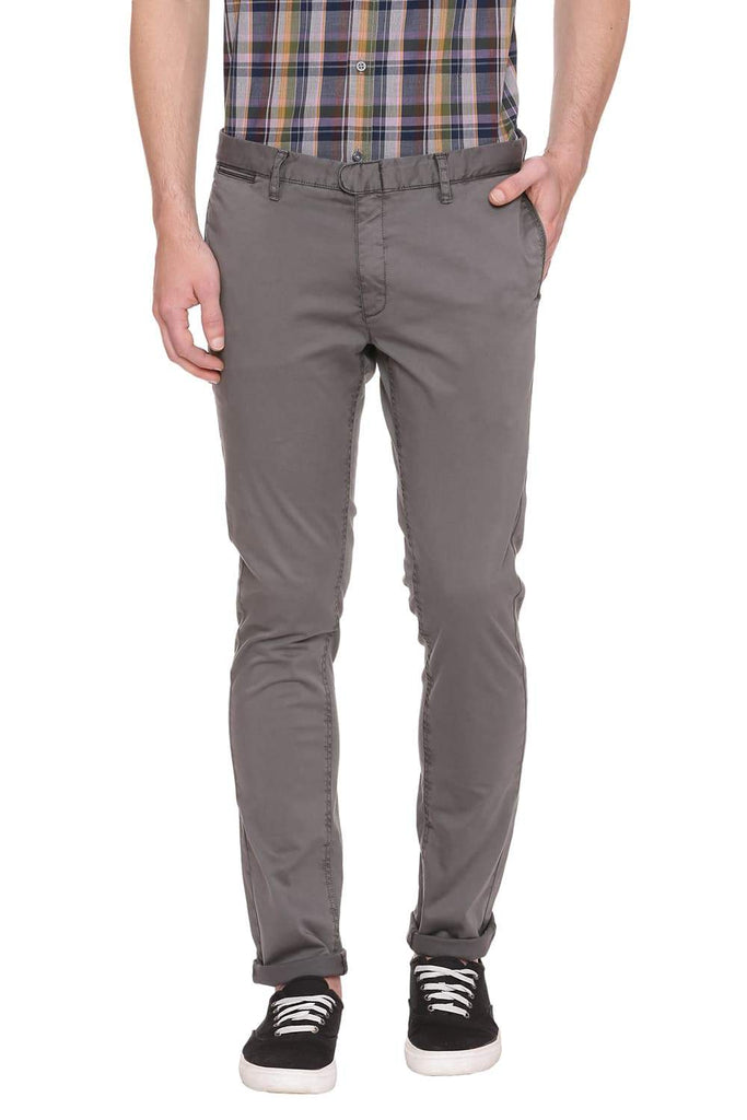 BASICS TAPERED FIT GUNMETAL OLIVE STRETCH TROUSER-18BTR39063 (4491322261585)