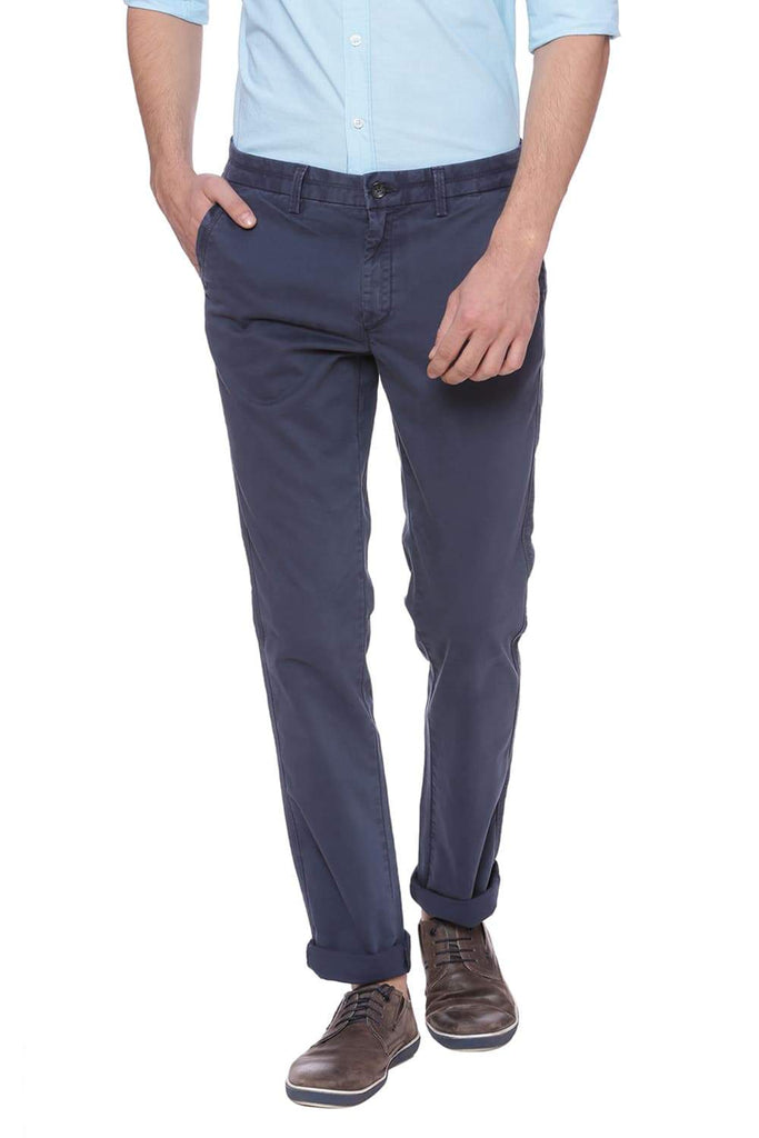 BASICS TAPERED FIT INSIGNIA NAVY TWILL STRETCH TROUSER-18BTR37501