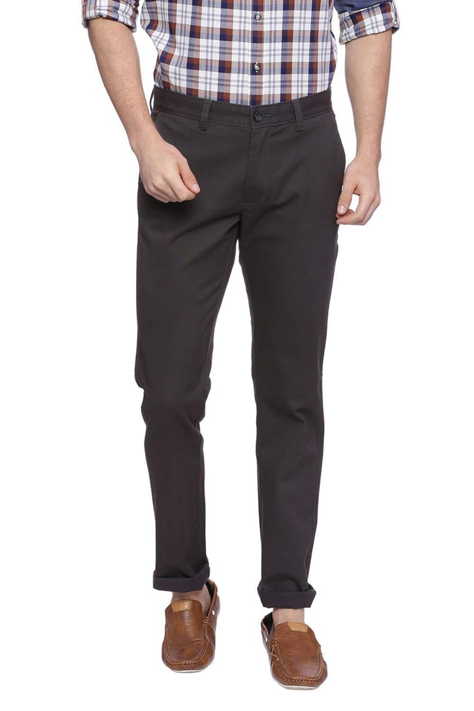 Basics Tapered Fit Iron Gate Gray Trouser Front