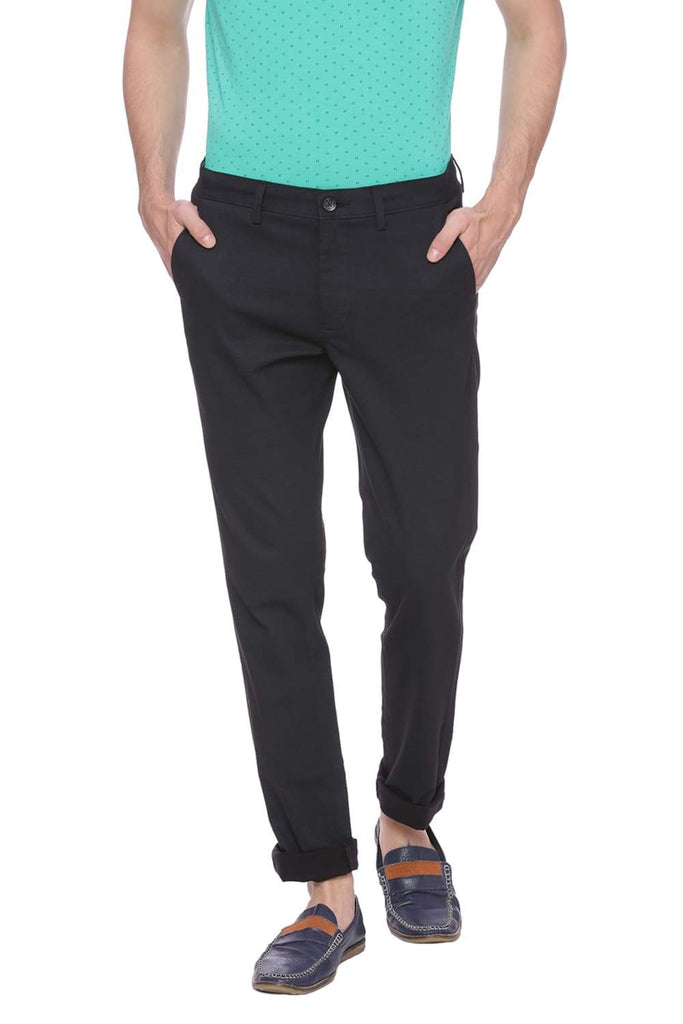 BASICS TAPERED FIT JET BLACK PRINTED STRETCH TROUSER-18BTR37516 (4491008442449)
