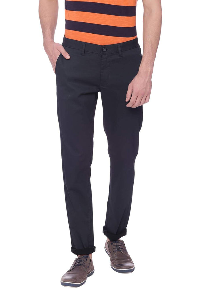 BASICS TAPERED FIT JET BLACK PRINTED TROUSER-18BTR37521 (4491009491025)