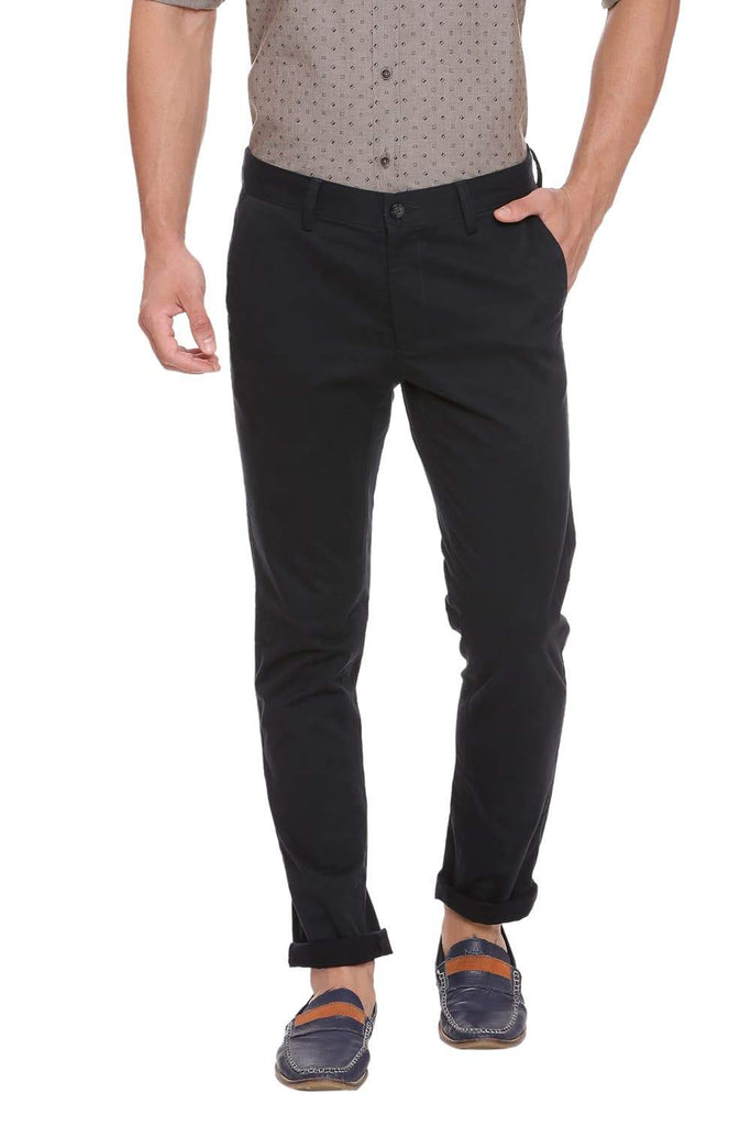 BASICS TAPERED FIT JET SET BLACK STRETCH TROUSER-18BTR38971 (4491288346705)