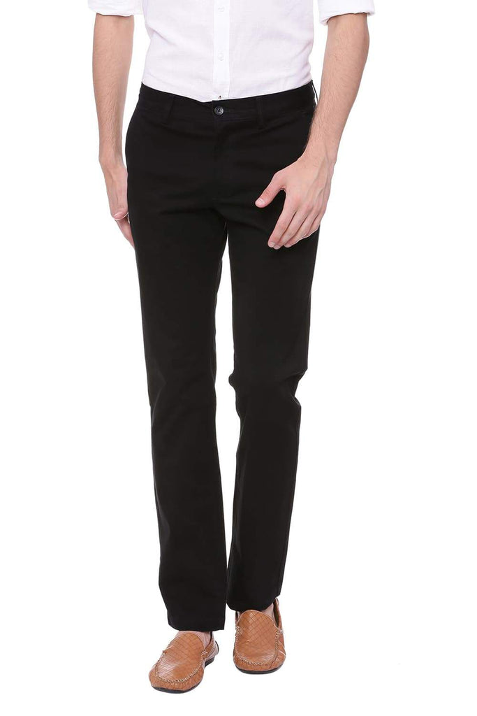 BASICS TAPERED FIT JET SET BLACK STRETCH TROUSER-18BTR39953
