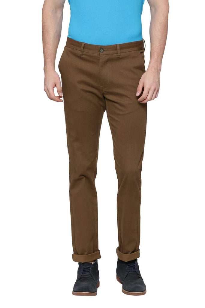BASICS TAPERED FIT KANGAROO BROWN PRINTED STRETCH TROUSER-18BTR37518 (4491008835665)