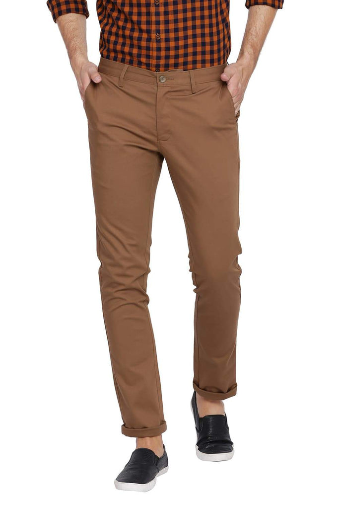 BASICS TAPERED FIT KANGAROO BROWN STRETCH TROUSER-18BTR39016 (4491545444433)