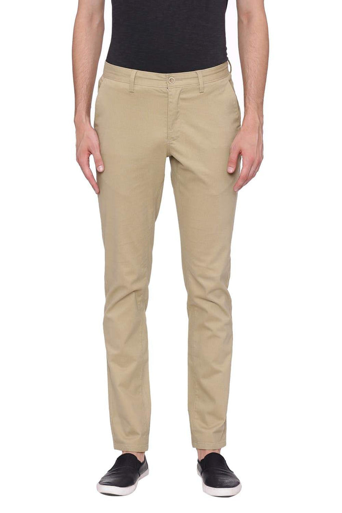 BASICS TAPERED FIT KELP KHAKI STRETCH TROUSER-18BTR39086