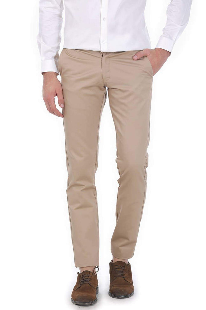 BASICS TAPERED FIT KHAKI SATIN TROUSERS-17BCTR38194