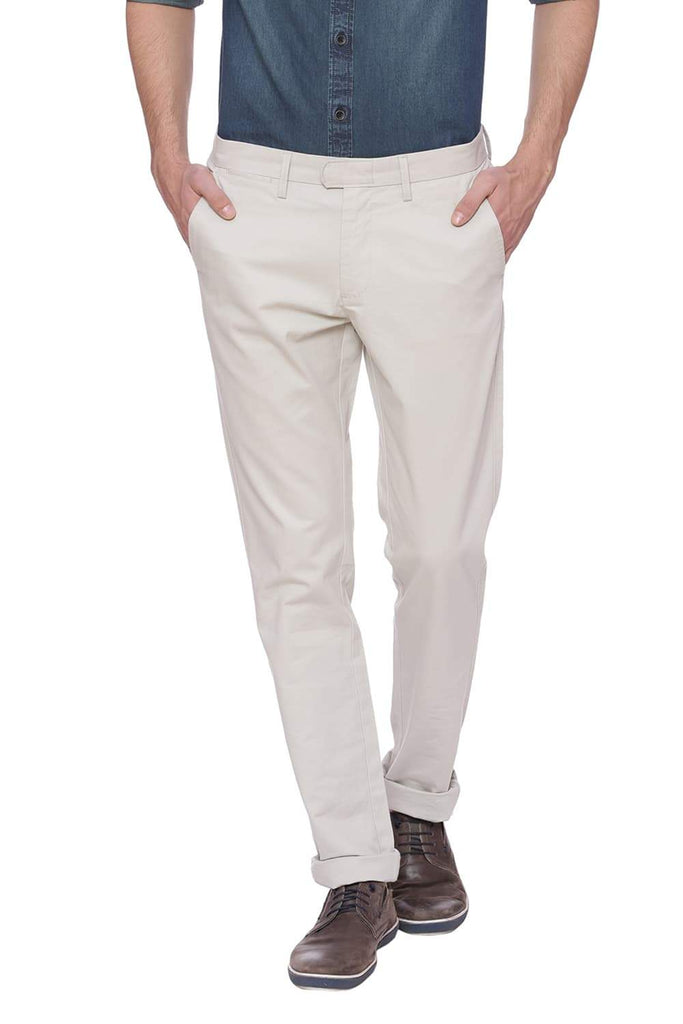 Basics Tapered Fit Light Grey Ecru Trouser Front