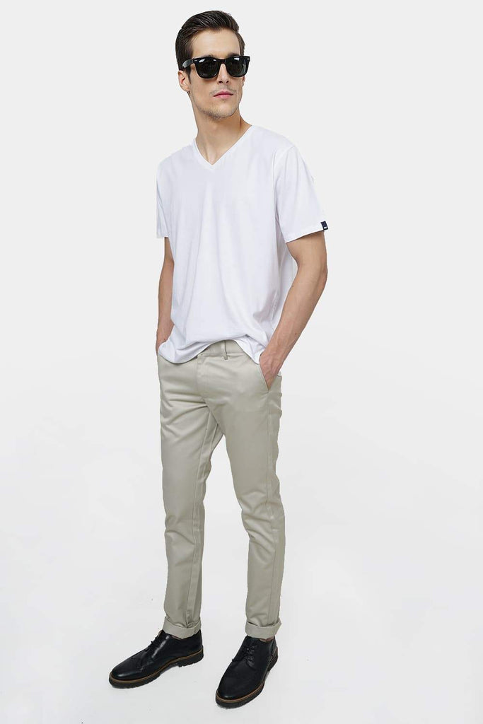 BASICS TAPERED FIT LIGHT GREY SATIN TROUSERS-17BCTR38197 (4490950639697)