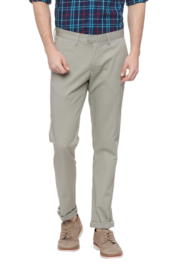 Basics Tapered Fit London Fog Green Trouser Front