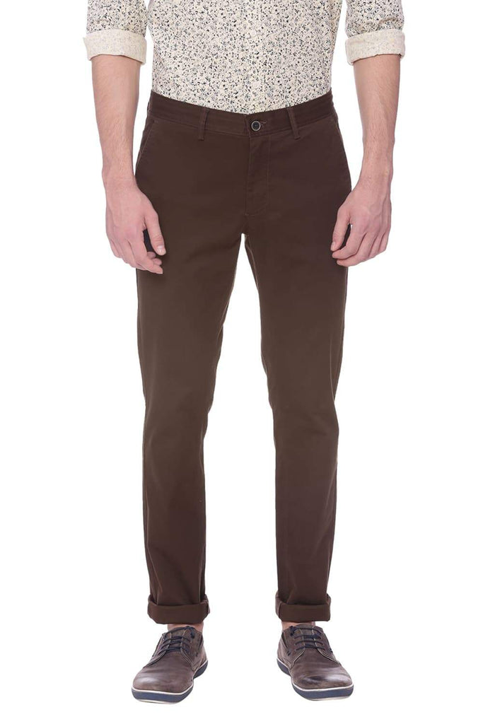 BASICS TAPERED FIT MAJOR BROWN STRETCH TROUSER-18BTR37674 (4491055104081)