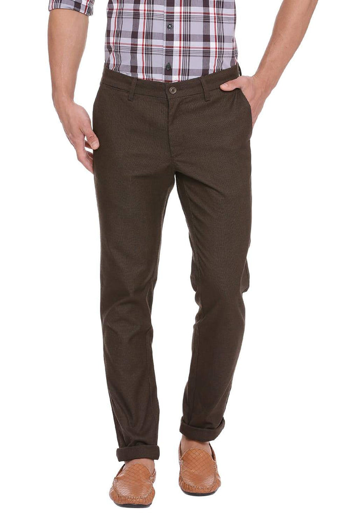 BASICS TAPERED FIT MAJOR BROWN STRETCH TROUSER-18BTR39101 (4491549605969)