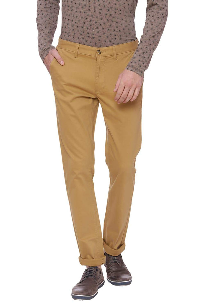 BASICS TAPERED FIT MEDAL BRONZE KHAKI STRETCH TROUSER-18BTR37477 (4491099799633)