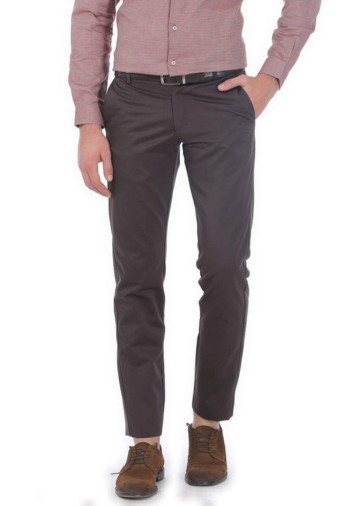 BASICS TAPERED FIT MID BROWN SATIN TROUSERS-17BCTR38192 (4490933796945)