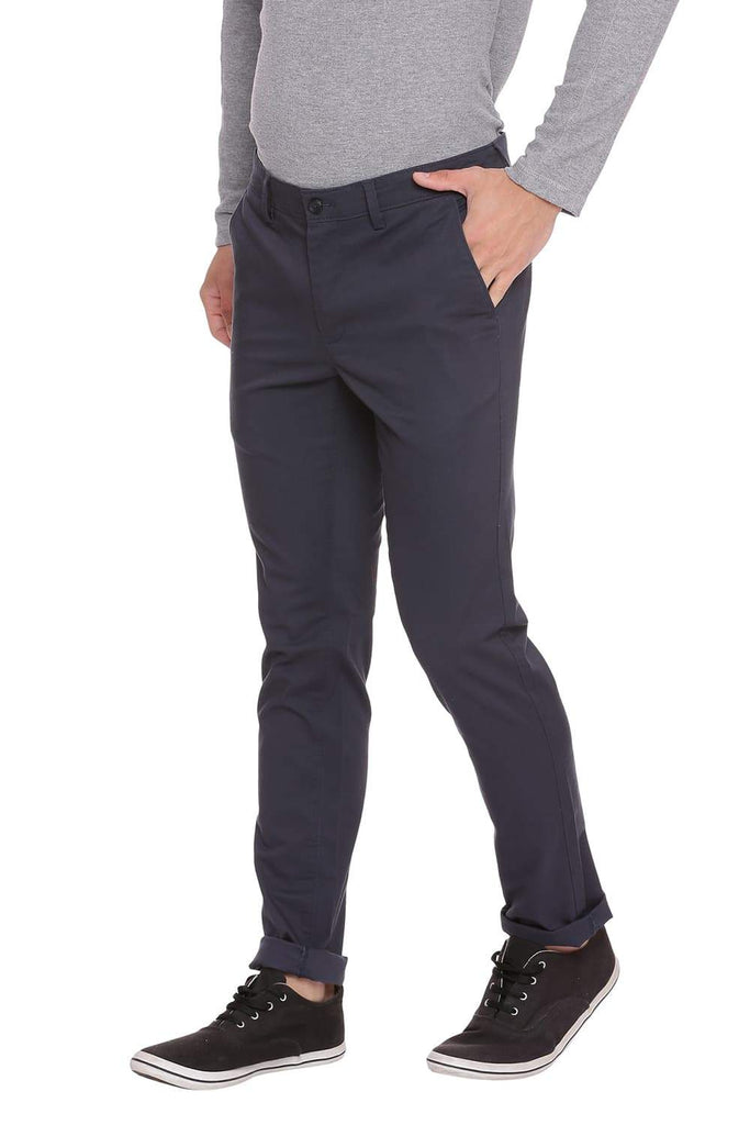 BASICS TAPERED FIT MIDNIGHT NAVY STRETCH TROUSER-18BTR38975 (4491293425745)
