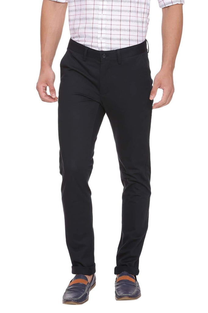 BASICS TAPERED FIT MIDNIGHT NAVY STRETCH TROUSER-18BTR39025 (4491549114449)