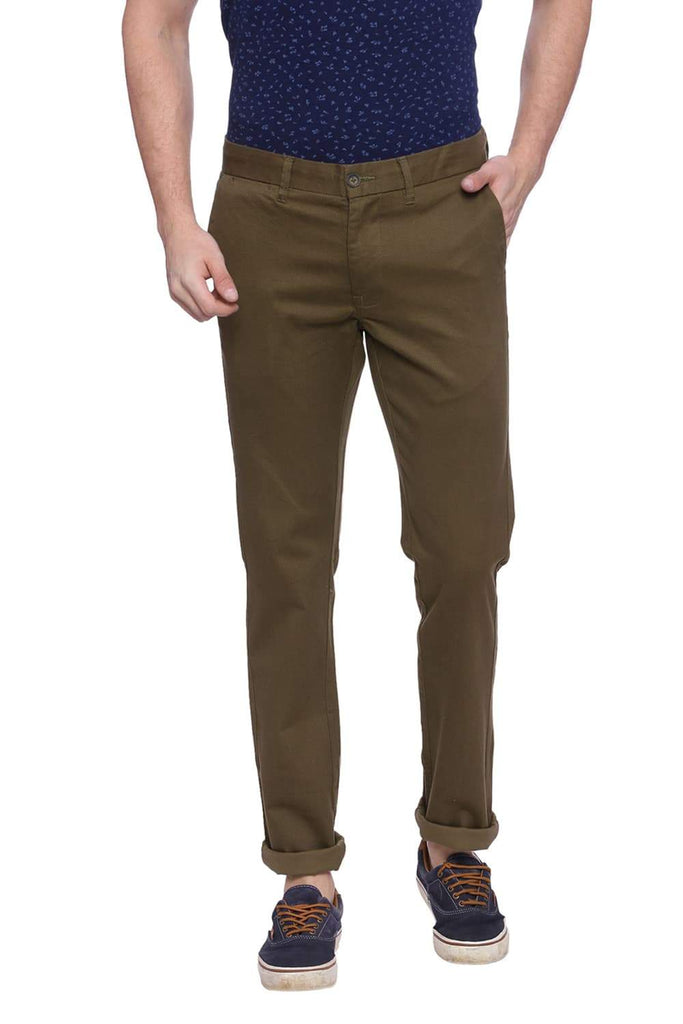 BASICS TAPERED FIT MILITARY GRAY PRINTED STRETCH TROUSER-18BTR37517 (4491008704593)