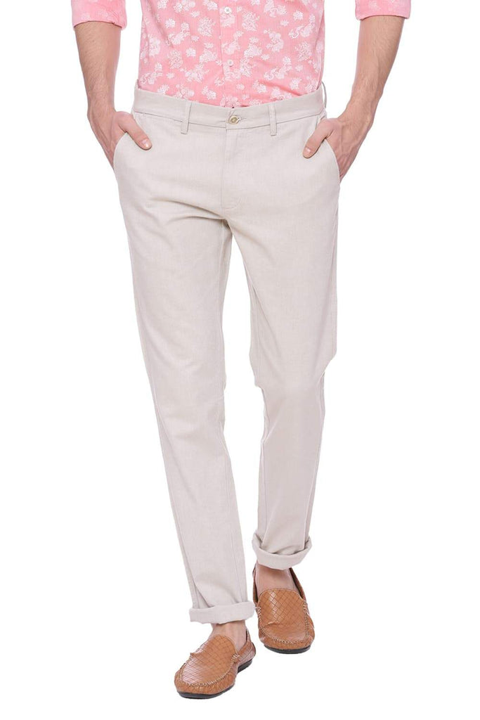 BASICS TAPERED FIT MOJAVE DESERT BEIGE STRETCH TROUSER-18BTR37697 (4491102879825)
