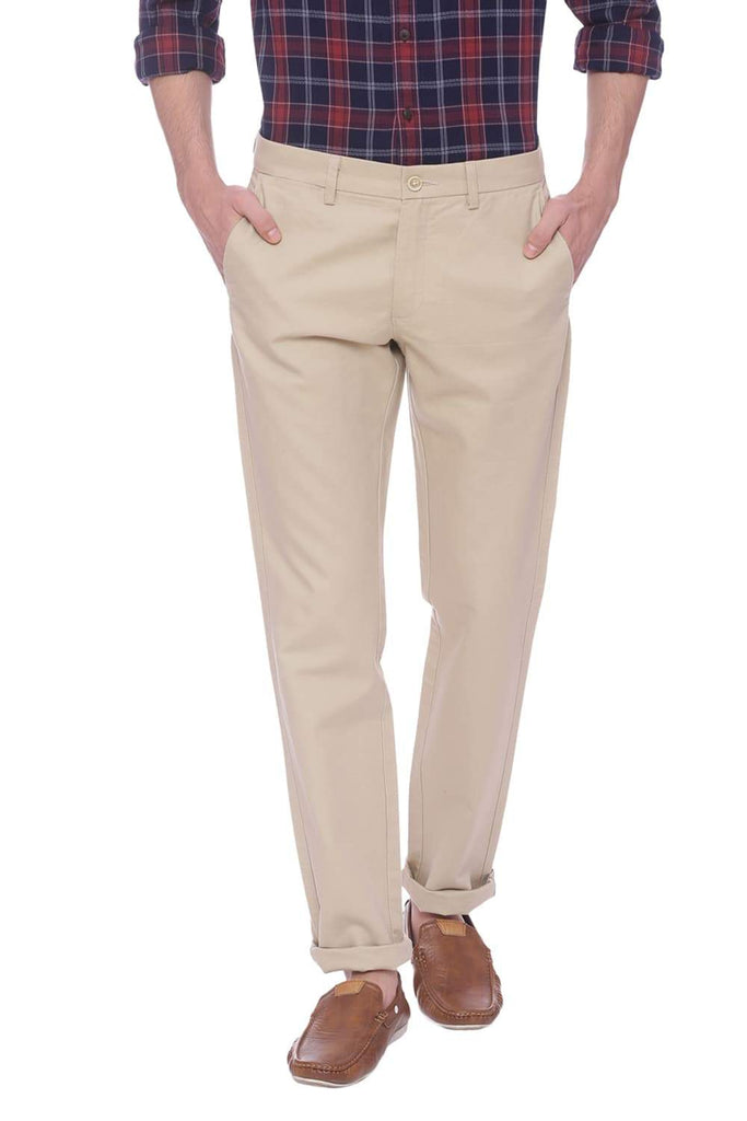 BASICS TAPERED FIT MOJAVE DESERT BEIGE TROUSER-18BTR38248 (4491081777233)