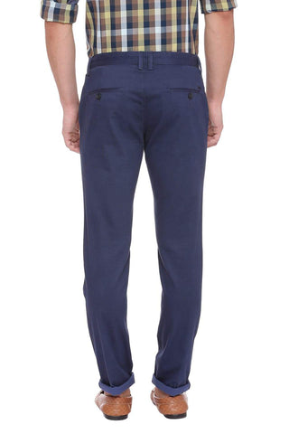 Basics Tapered Fit Mood Print Navy Stretch Trouser Front