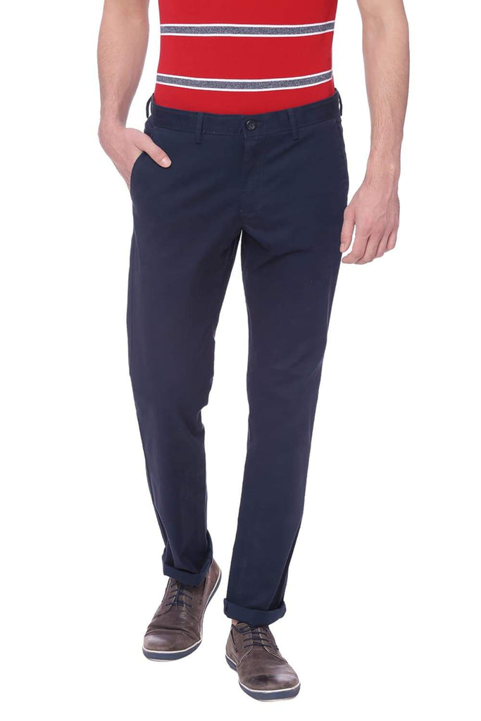 BASICS TAPERED FIT NAVY BLAZER STRETCH TROUSER-18BTR38375 (4491108941905)