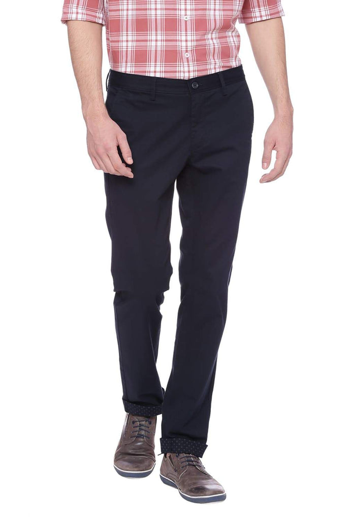 BASICS TAPERED FIT NAVY GRAPHITE STRETCH TROUSER-18BTR37660