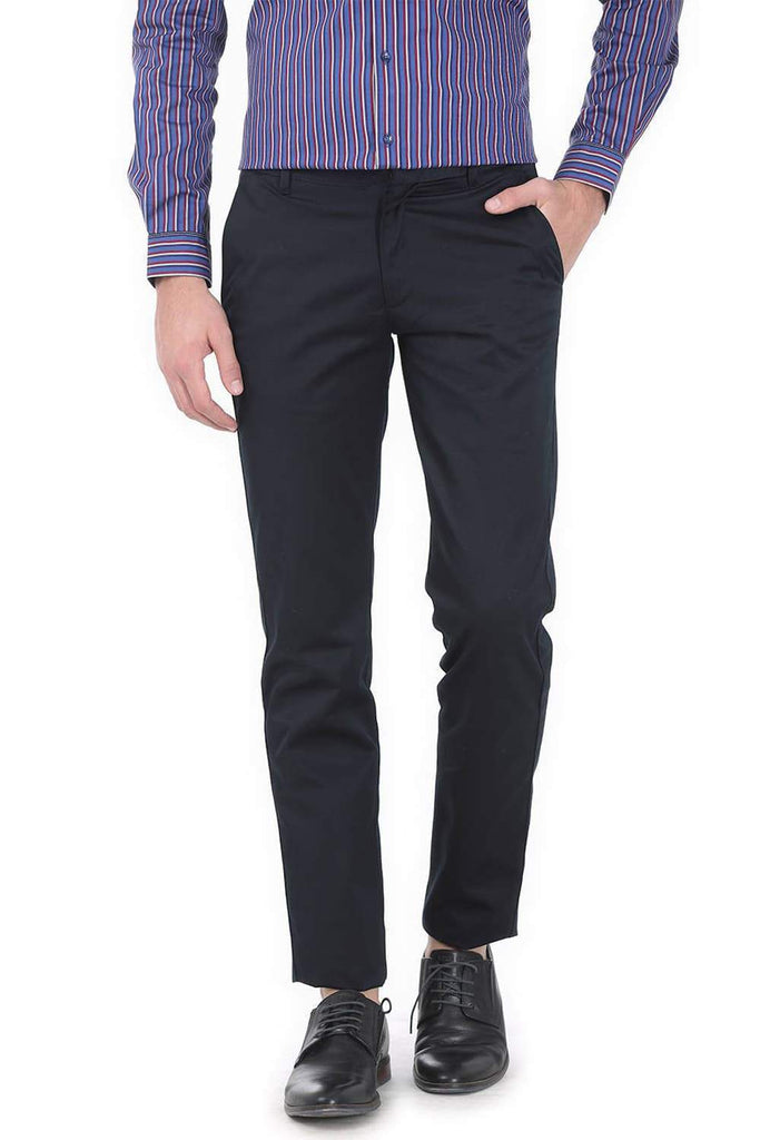 BASICS TAPERED FIT NAVY SATIN TROUSERS-17BCTR38189