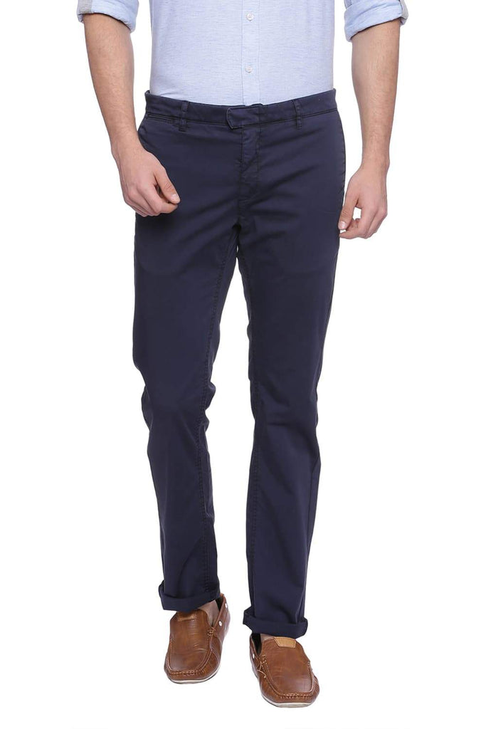 BASICS TAPERED FIT NIGHT SKY NAVY SATIN STRETCH TROUSER-18BTR37535 (4491054841937)