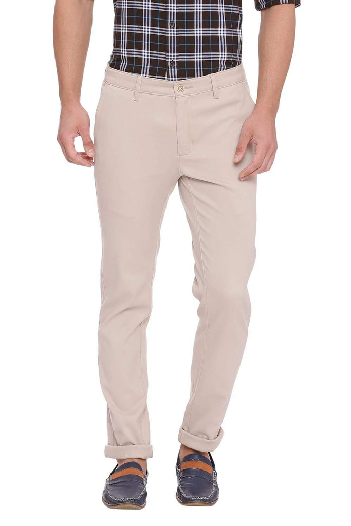BASICS TAPERED FIT NOMAD BEIGE STRETCH TROUSER-18BTR38955 (4491548557393)