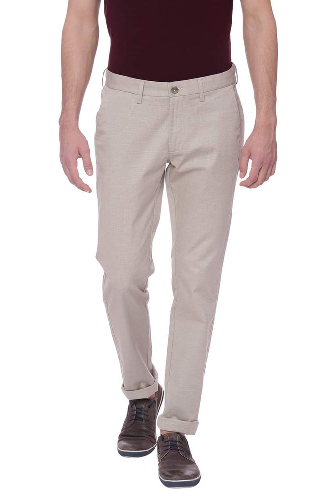 Basics Tapered Fit Oatmeal Beige Trouser Front