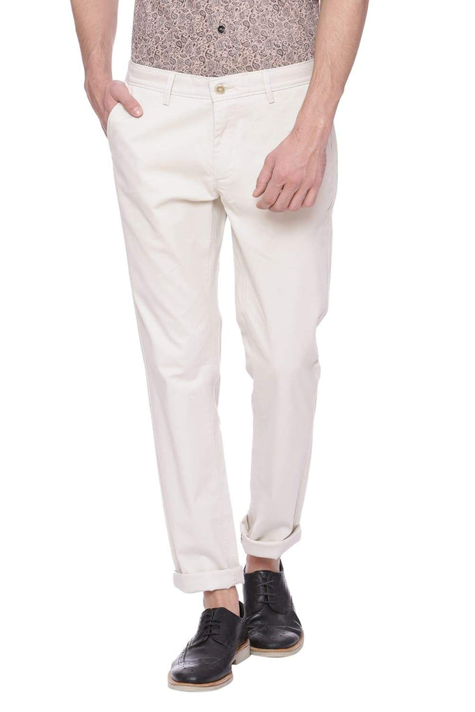 Basics Tapered Fit Oatmeal Ecru Trouser Front