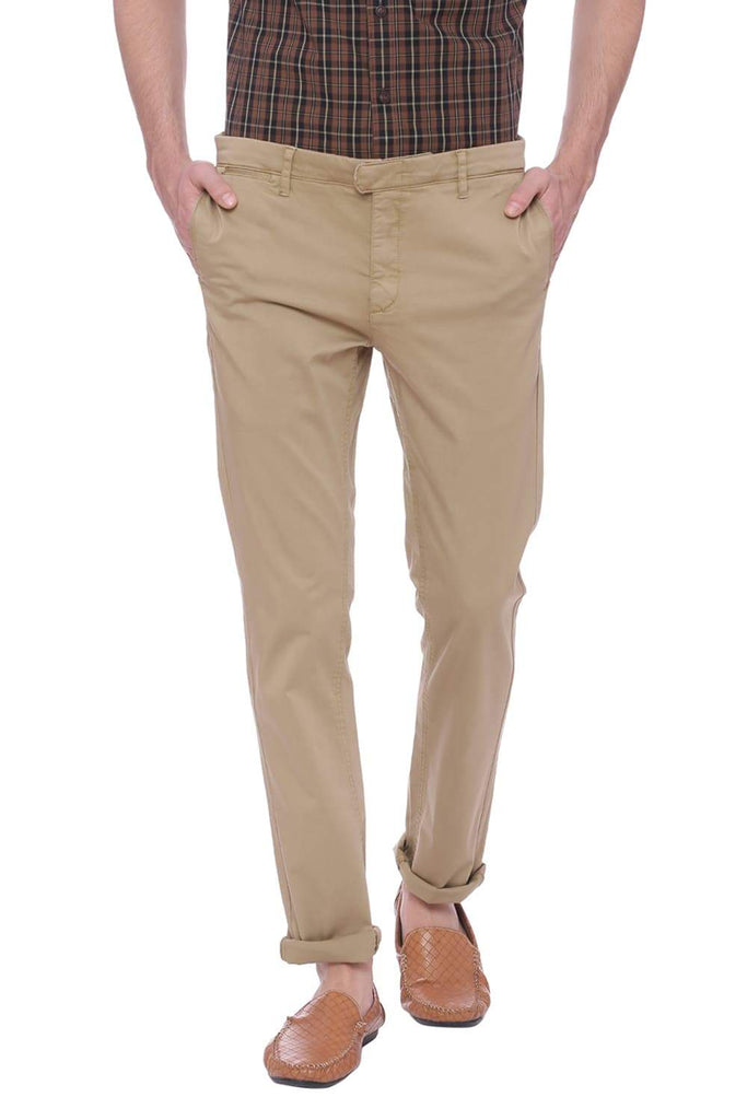 BASICS TAPERED FIT OLIVE KHAKI SATIN STRETCH TROUSER-18BTR37532 (4491054612561)