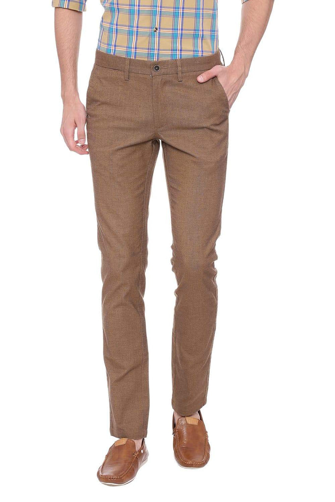 BASICS TAPERED FIT OTTER BROWN STRETCH TROUSER-18BTR39100 (4491549507665)