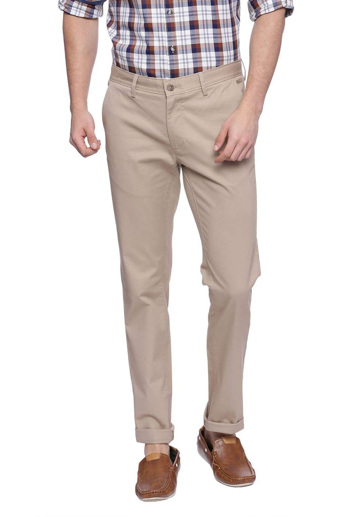 BASICS TAPERED FIT OXFORD BEIGE STRETCH TROUSER-18BTR37671 (4491101601873)