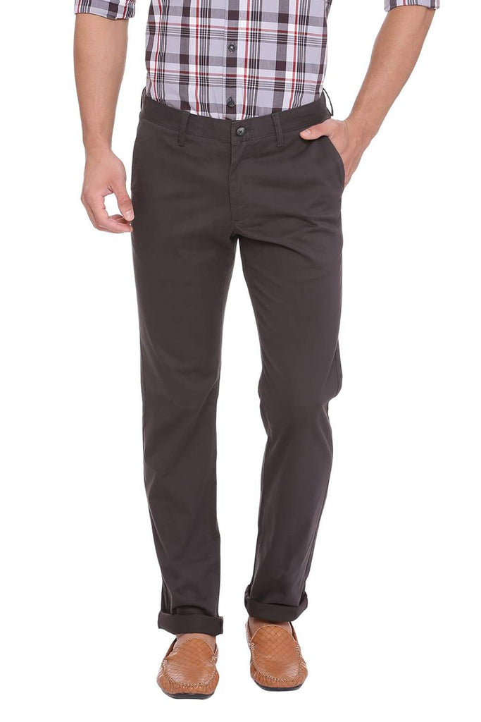 BASICS TAPERED FIT PEAT GREY STRETCH TROUSER-18BTR39883 (4491363778641)
