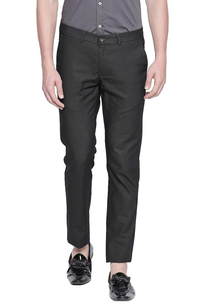BASICS TAPERED FIT PEAT GREY STRETCH TROUSER-20BTR43315 (4491818106961)