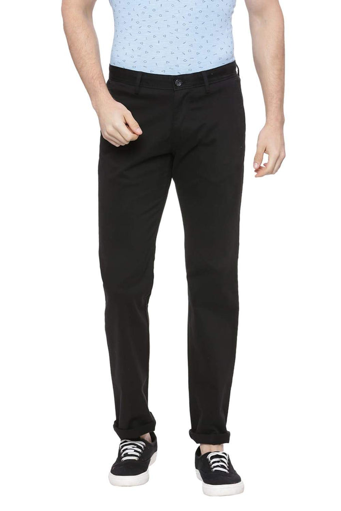BASICS TAPERED FIT PHANTOM BLACK STRETCH TROUSER-18BTR38284 (4491107663953)