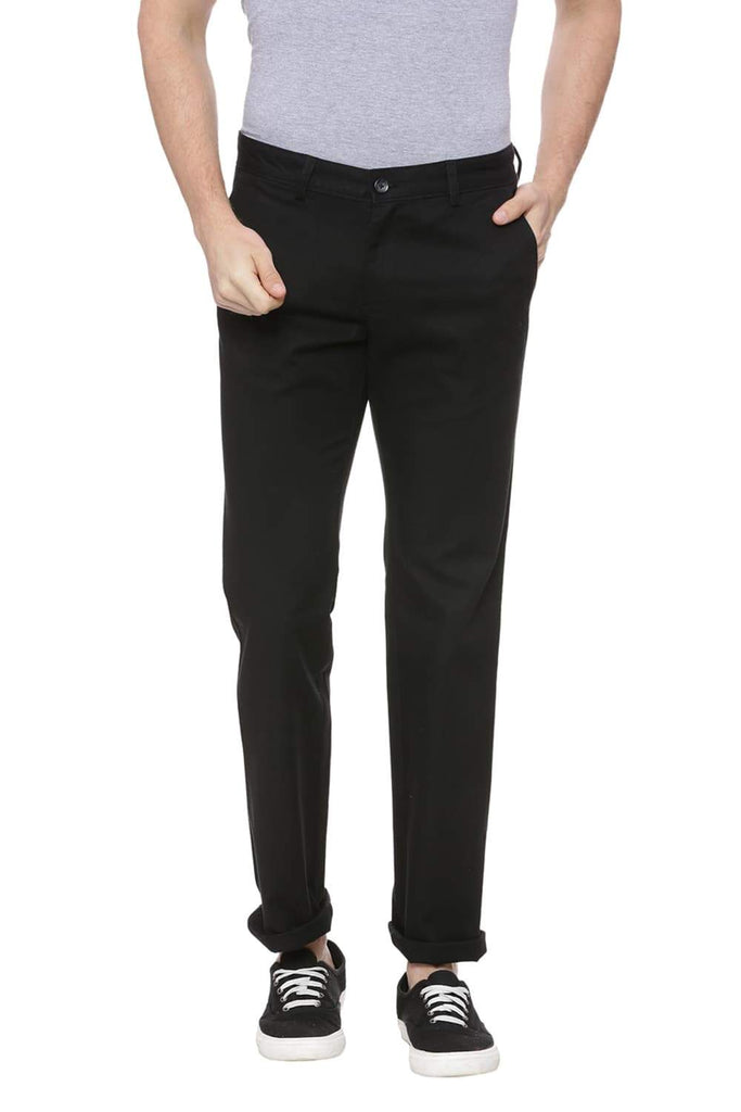 BASICS TAPERED FIT PHANTOM BLACK STRETCH TROUSER-18BTR38351 (4491108024401)