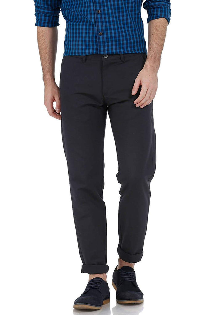 BASICS TAPERED FIT PIRATE BLACK COTTON TROUSER-17BCTR38204