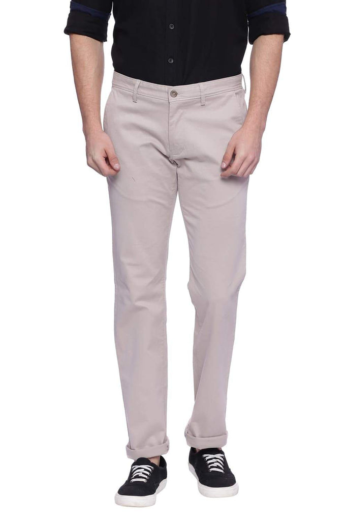 BASICS TAPERED FIT PORPOISE GREY STRETCH TROUSER-18BTR38281 (4491107270737)