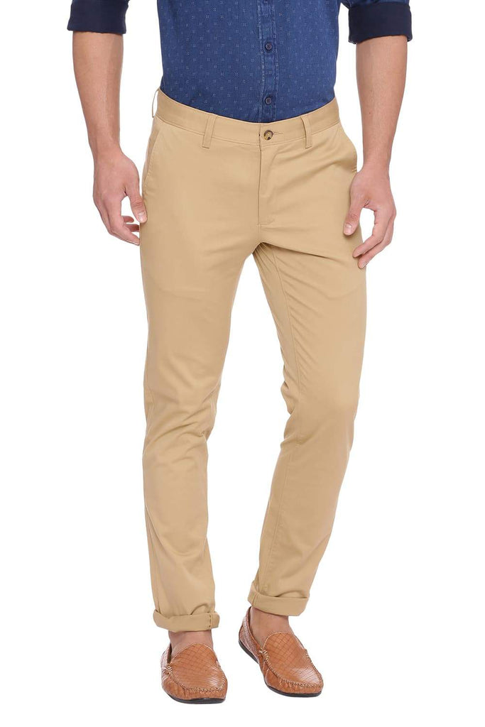 BASICS TAPERED FIT PRAIRIE SAND STRETCH TROUSER-18BTR38967 (4491548622929)
