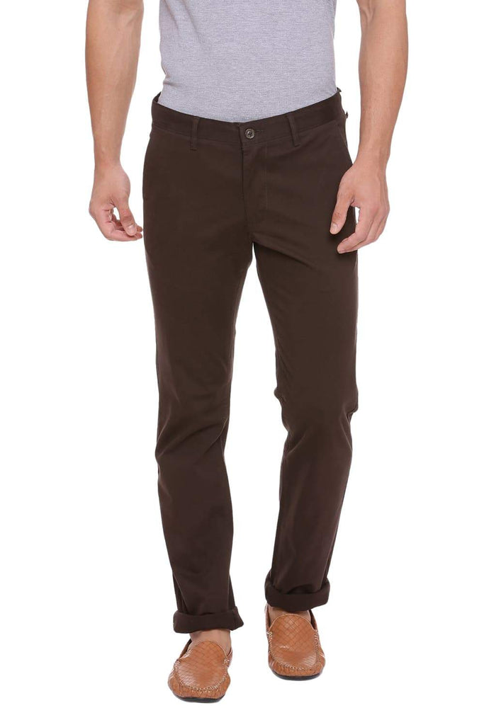 Basics Tapered Fit Raven Brown Stretch Trouser Front