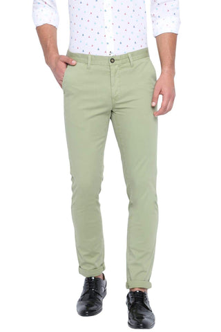 BASICS TAPERED FIT SAGE GREEN STRETCH TROUSER-19BTR40658 (4491560124497)